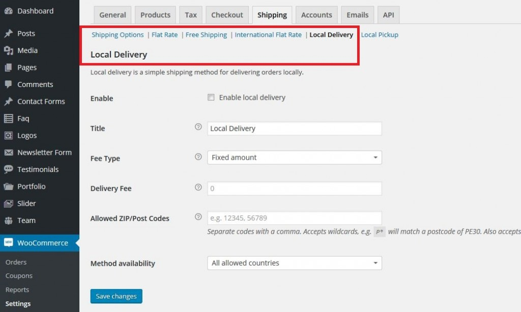 Woocommerce-local delivery