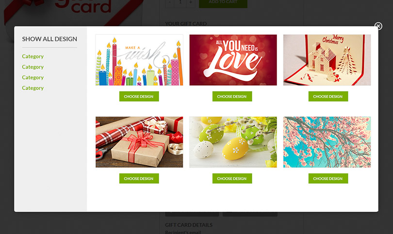 Gift card gallery images