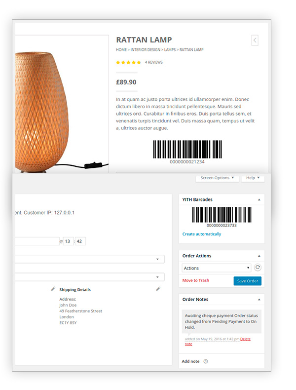 Product page and order detail page