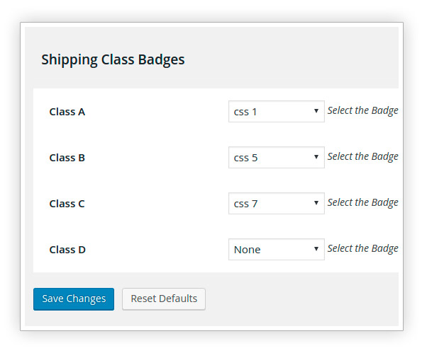 Shipping class badges