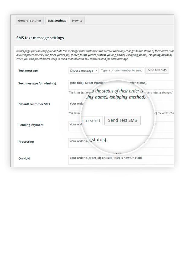 Send test sms