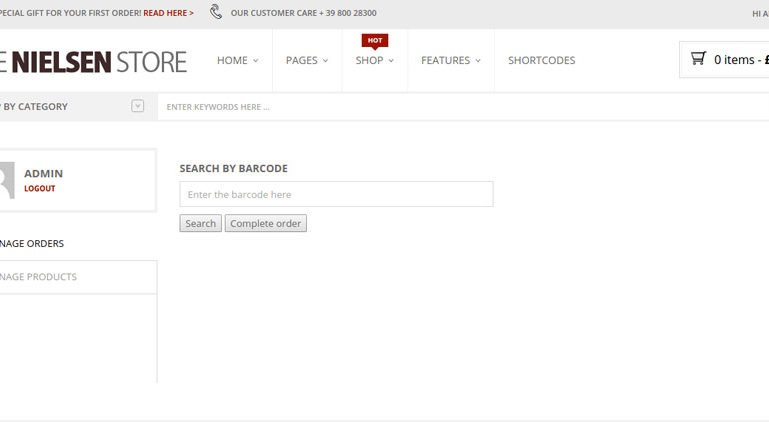Search and complete order by barcode