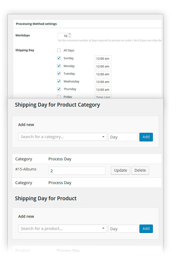 Shipping for product and category products