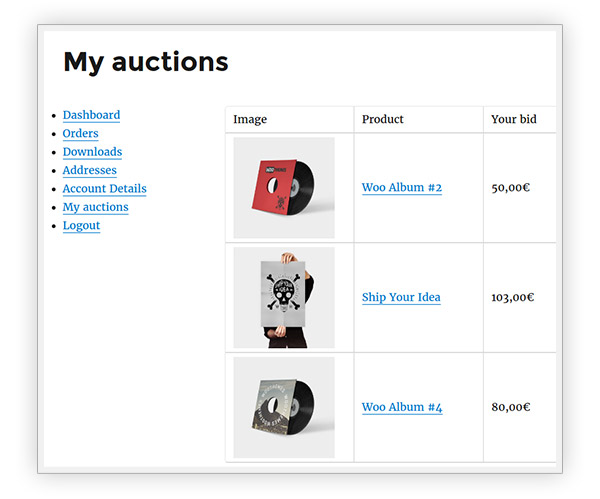My auctions