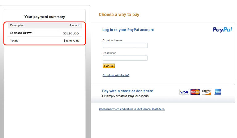 Chained method - Paypal payment page