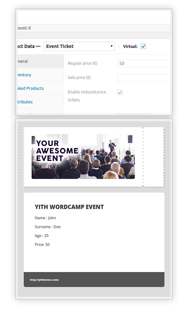 Virtual event ticket product