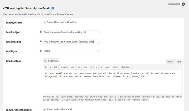 Subscription Email Settings