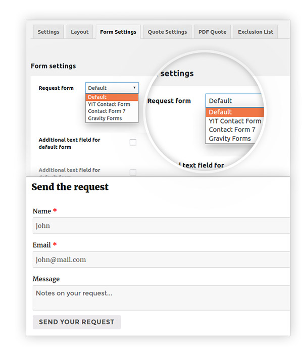 Selct a contact form as a request form