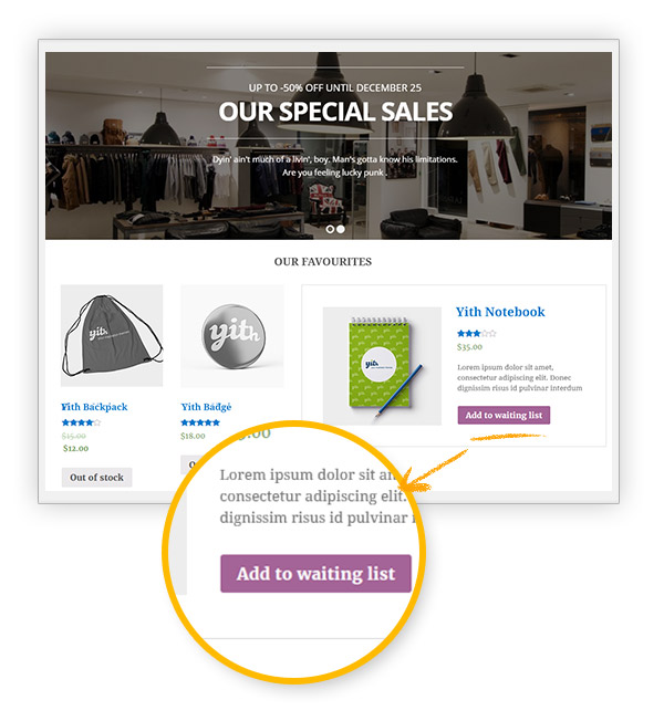 Shortcode of YITH WooCommerce Waiting List