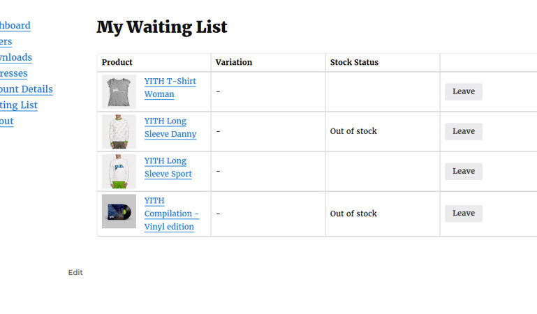 My Waiting List - My Account page