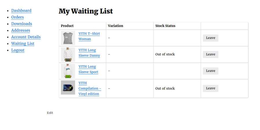 YITH WooCommerce Waiting List