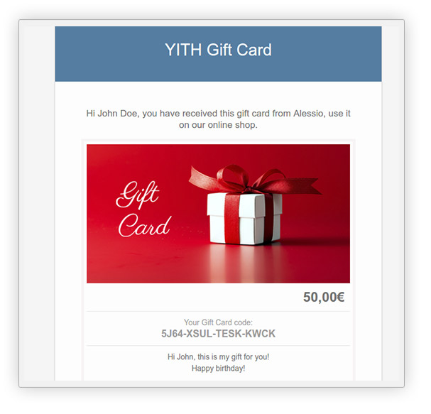 Edit gift card email template