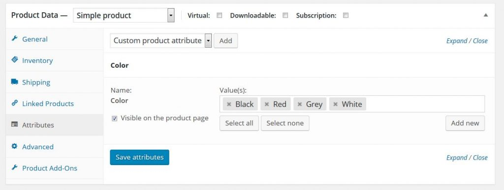How to add product attributes in WooCommerce