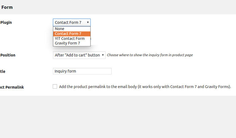 Inquiry form settings