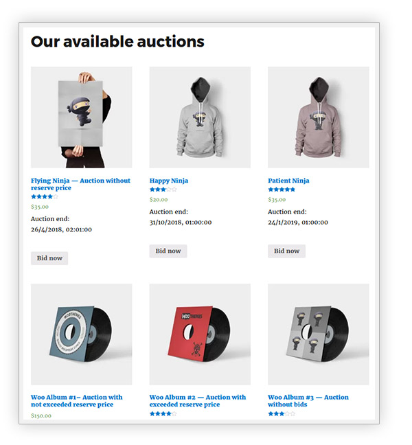 Auction products