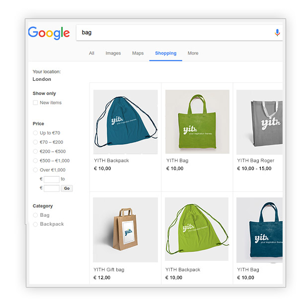 Google shopping page