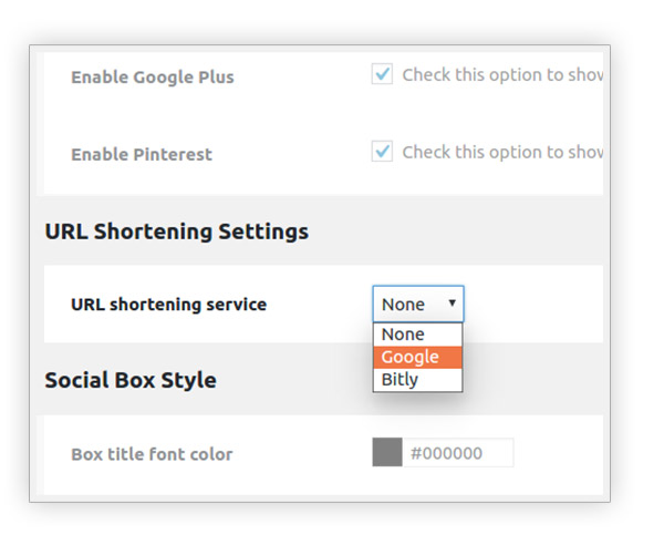 URL Shortening settings