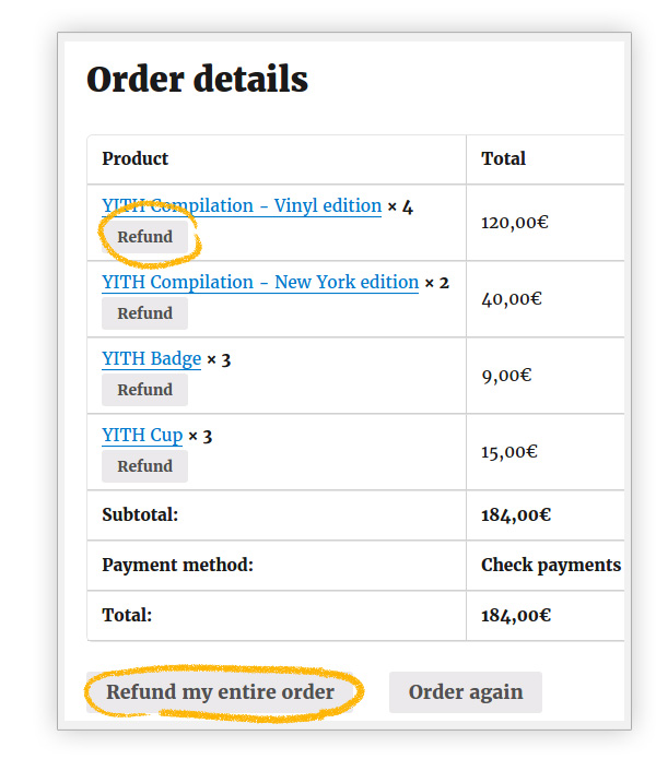 Allow refund on order or all order
