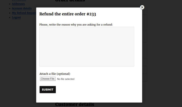 Popup to ask a refund
