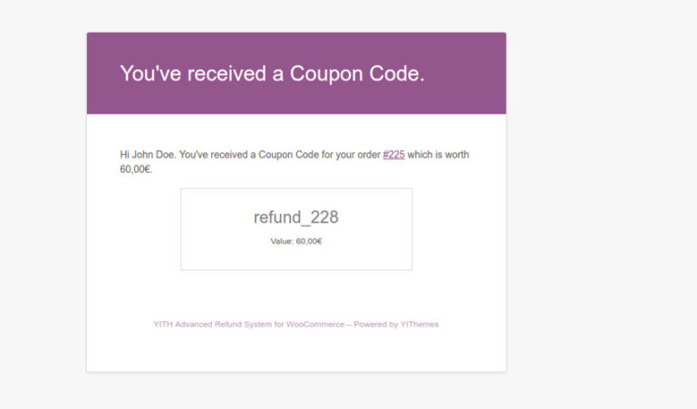 User email - Coupon code
