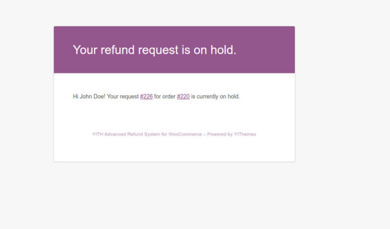 User email - Request in on hold