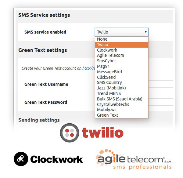 SMS service enabled