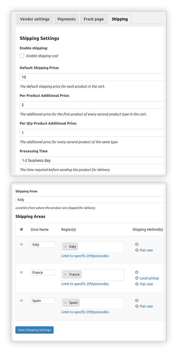 Enable shipping for vendors