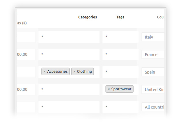 Select categories and tags for product shipping rules