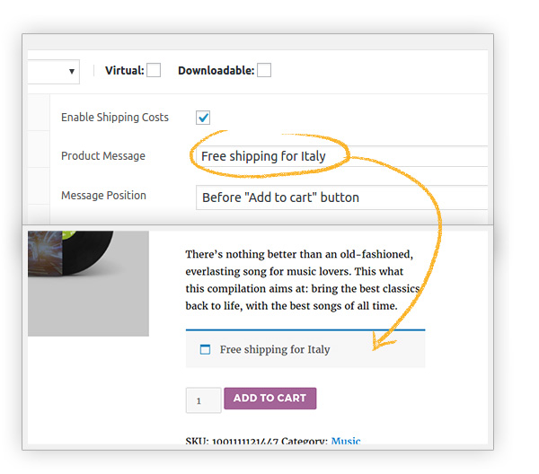 Set a custom message to show in the product page