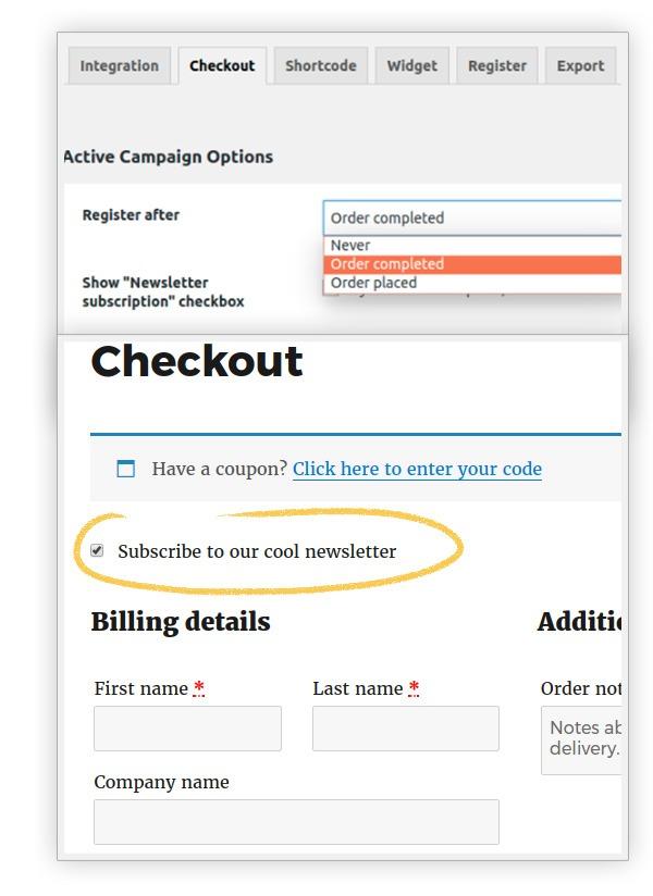 Subscribere customer at checkout