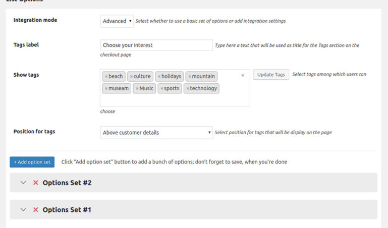 List options for checkout subscribe form