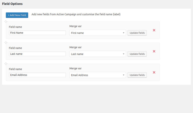 Choose fields for active campaign register form
