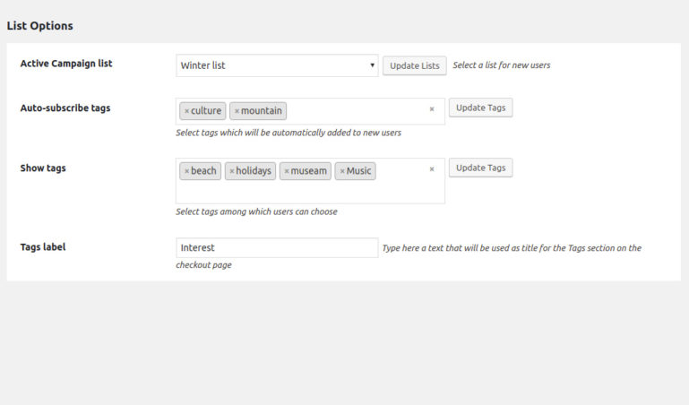 Choose Active Campaign list and tags for shortcode form