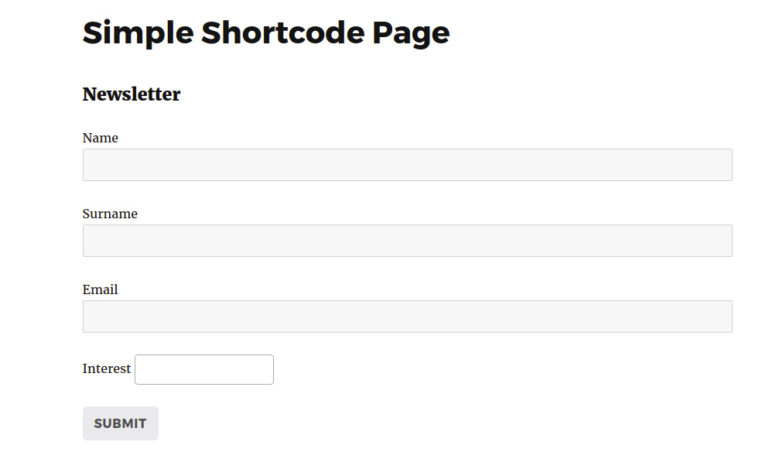 Shortcode subscription form