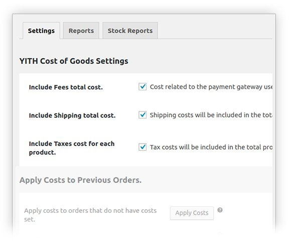 General settings of the plugin Cost of Goods