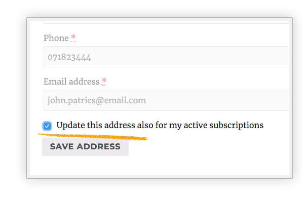 Update address for active subscriptions