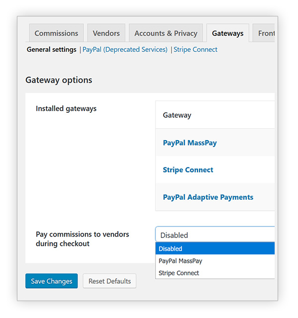 Choose payment method for vendor commissions
