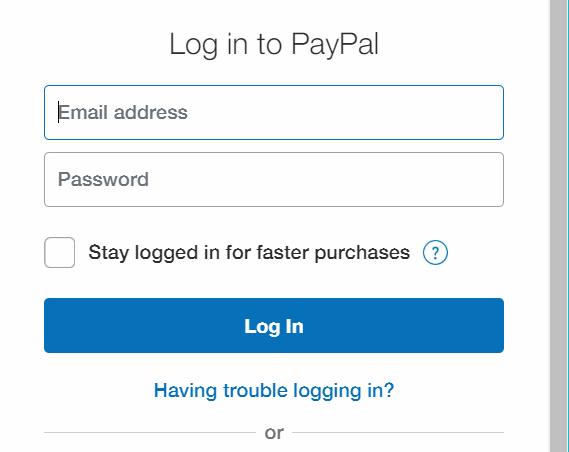 PayPal popup - Login
