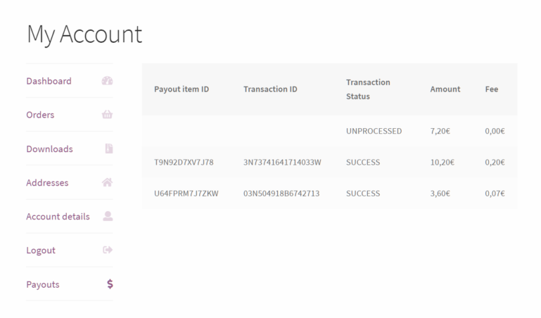 Transaction list on the frontend