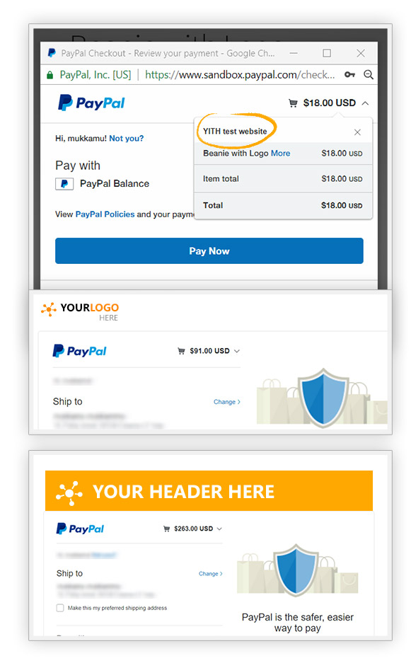 Logo and header on PayPal account