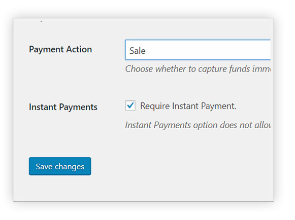PayPal require instant payments
