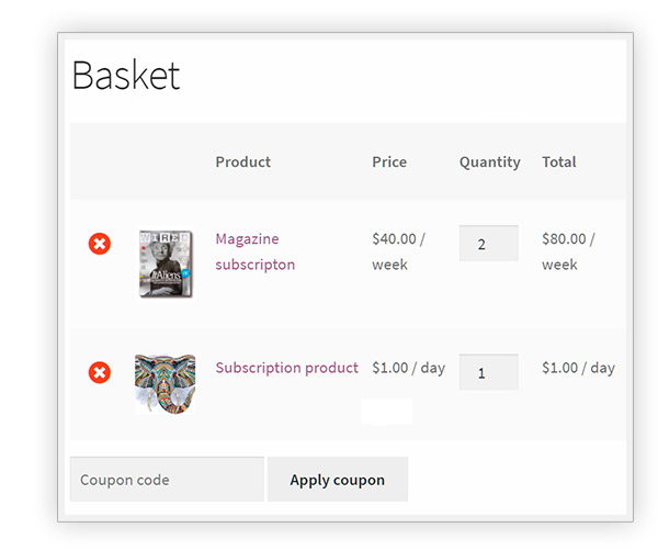 Multiple subscriptions in the same cart