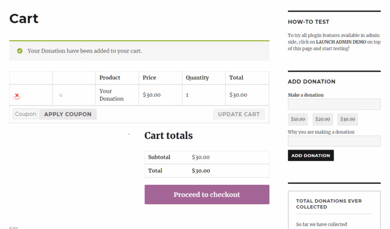 Donation form in cart