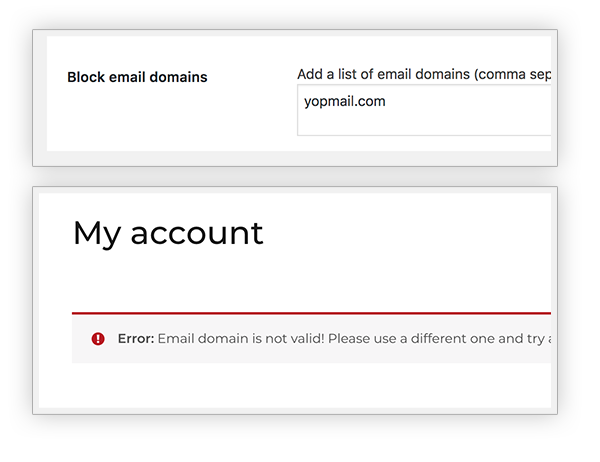 Block email domains