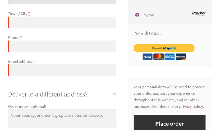 Checkout - PayPal payment selected