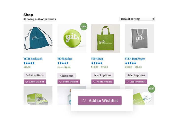 Add to Wishlish feature on Shop page
