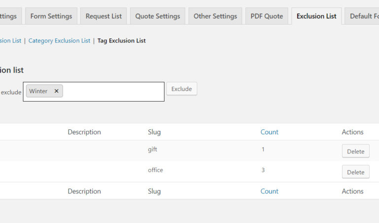 Exclusion List – Tags