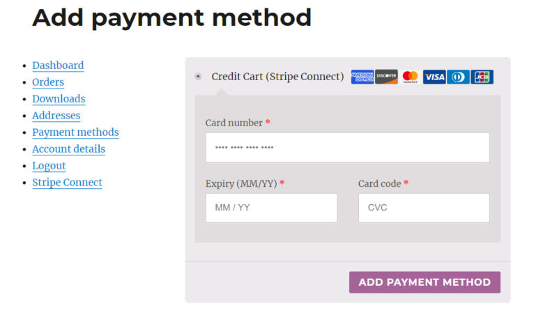 Add new payment method