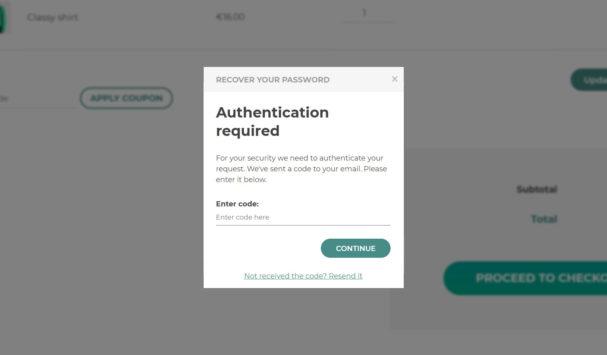 Password reset - enter code