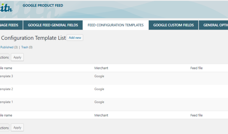 Feed configuration template list